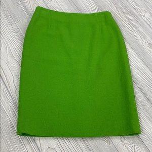 Escada lime green wool pencil skirt